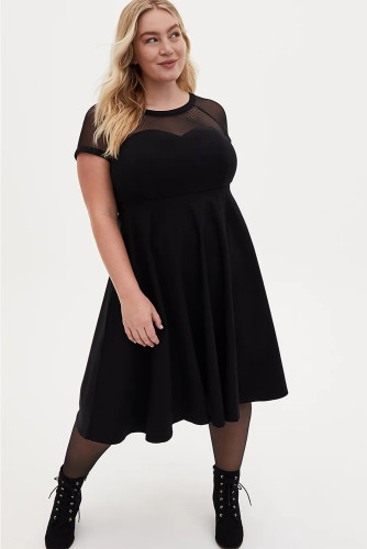 Black Mesh Crew Neck Short Sleeve High Waist Plus Size Midi Dress LC613441-2
