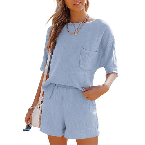 Light Blue Pocket Tops with Shorts Cotton Loungewear Set TQK710322-30
