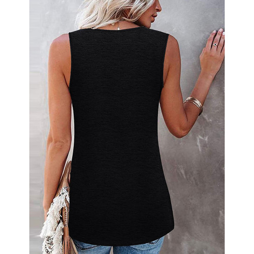 Black Cotton Blend Lace Neck Tank Top TQK250133-2