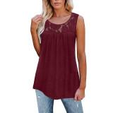 Wine Red Cotton Blend Lace Neck Tank Top TQK250133-23