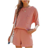 Pink Pocket Tops with Shorts Cotton Loungewear Set TQK710322-10
