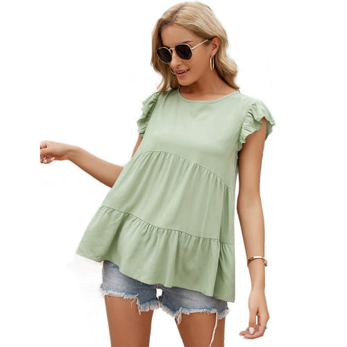 Light Green Loose Style Ruffled Babydoll Top TQK210687-28