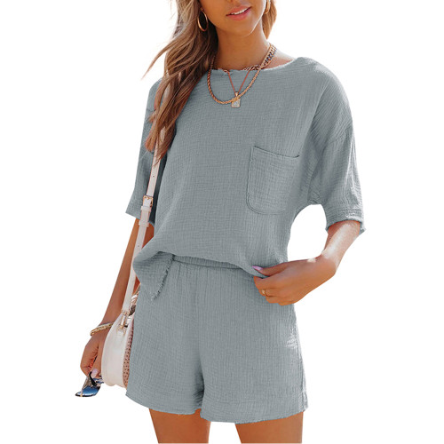 Gray Pocket Tops with Shorts Cotton Loungewear Set TQK710322-11