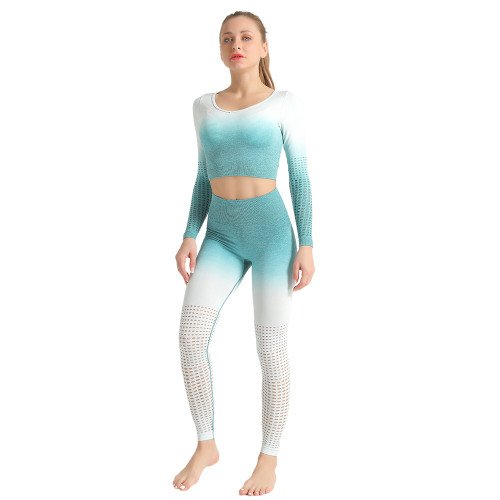 Green Hollow Out Long Sleeve 2pcs Yoga Set TQE87171-9