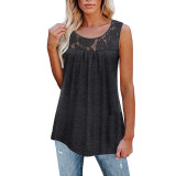 Dark Gray Cotton Blend Lace Neck Tank Top TQK250133-26