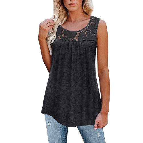 Dark Gray Cotton Blend Lace Neck Tank Top TQK250133-26