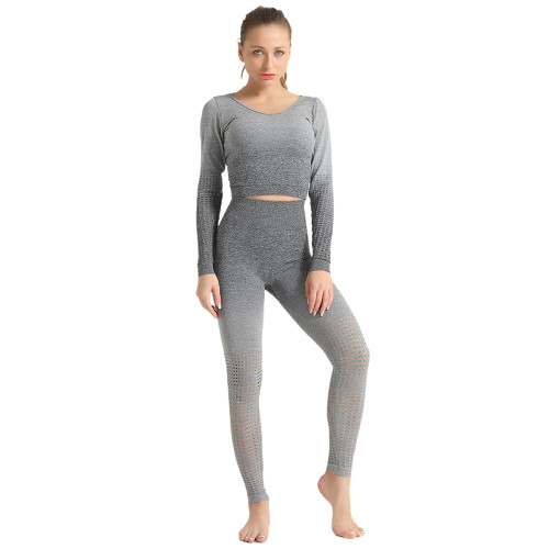 Gray Hollow Out Long Sleeve 2pcs Yoga Set TQE87171-11
