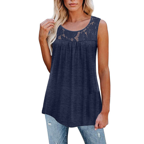 Navy Blue Cotton Blend Lace Neck Tank Top TQK250133-34