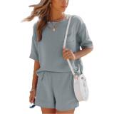 Gray Pocket Tops with Shorts Cotton Loungewear Set TQK710322-11
