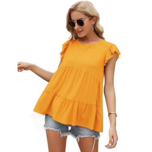 Yellow Loose Style Ruffled Babydoll Top TQK210687-7