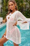 White Hollow-out Crochet Knit Beach Dress LC42952-1