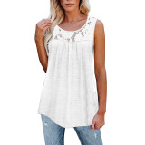 White Cotton Blend Lace Neck Tank Top TQK250133-1