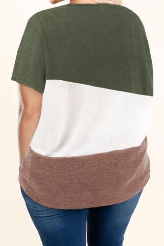 Green Plus Size Crew Neck Colorblock Tee LC2512806-9