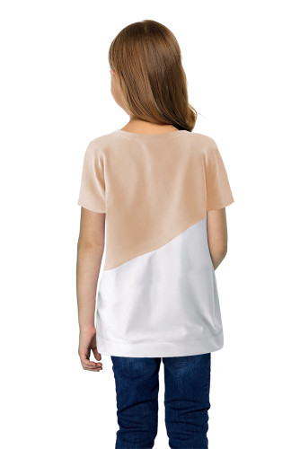 Khaki Colorblock Splicing Little Girl Tee TZ25294-16