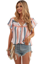 Multicolor Stripes Split Neck Pleated Ruffled Short Sleeves Top LC2514841-22