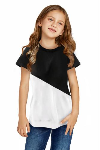 Black Colorblock Splicing Little Girl Tee TZ25294-2