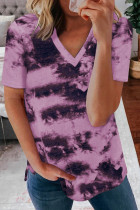 Purple Tie-dye V Neck T-shirt LC2523806-8