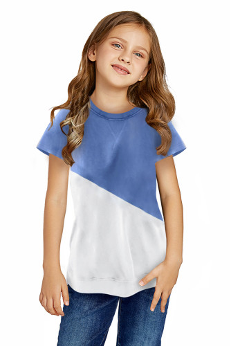 Sky Blue Colorblock Splicing Little Girl Tee TZ25294-4