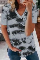 Gray Tie-dye V Neck T-shirt LC2523806-11