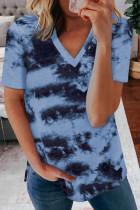 Sky Blue Tie-dye V Neck T-shirt LC2523806-4