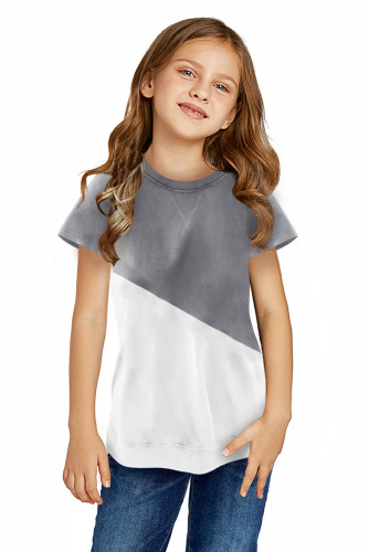 Gray Colorblock Splicing Little Girl Tee TZ25294-11