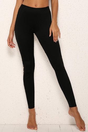 Black Leopard Splicing Mid Waist Stretchy Skinny Pants LC76297-2
