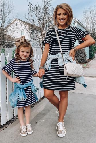 Family Matching Girls' Striped T-shirt Mini Dress with Ruffled Sleeves TZ61160-2