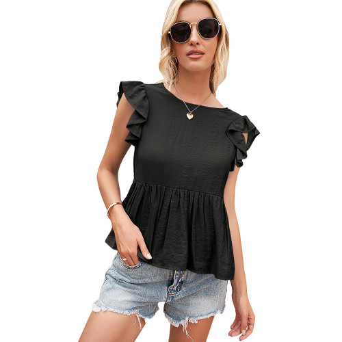 Black Back Deep V Neck Babydoll Top TQK210689-2