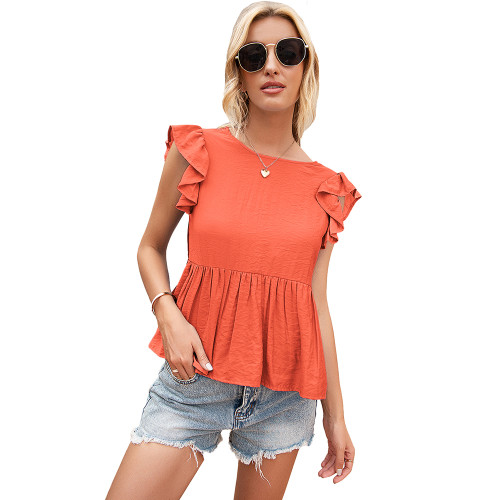 Orange Back Deep V Neck Babydoll Top TQK210689-14