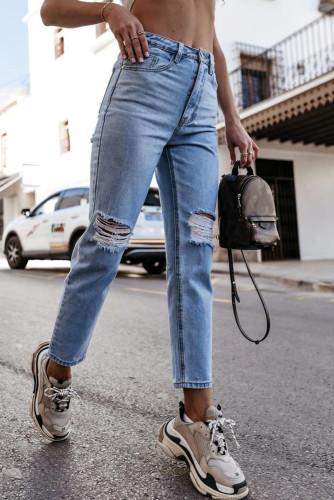 Blue High Waist Ripped Straight Leg Jeans LC781993-4
