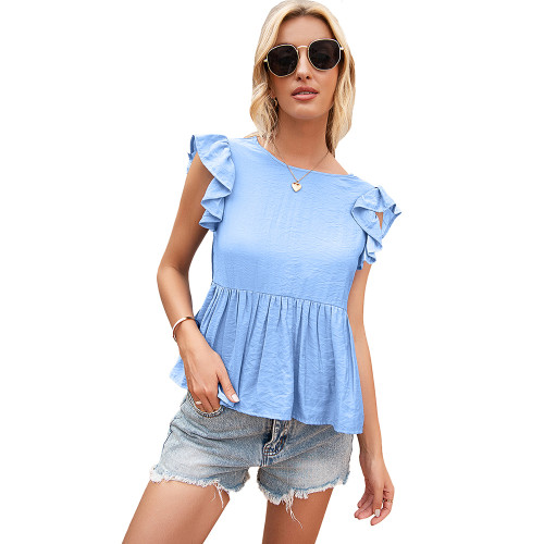 Light Blue Back Deep V Neck Babydoll Top TQK210689-30