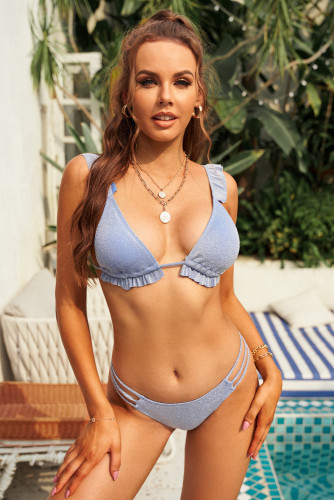 Blue Ruffled Strappy Triangle Hollow-out Backless Bikini LC432318-5