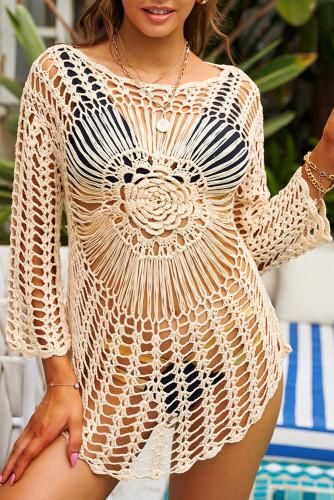 Long Sleeve Hollow-out Crochet Beachwear LC42954-18