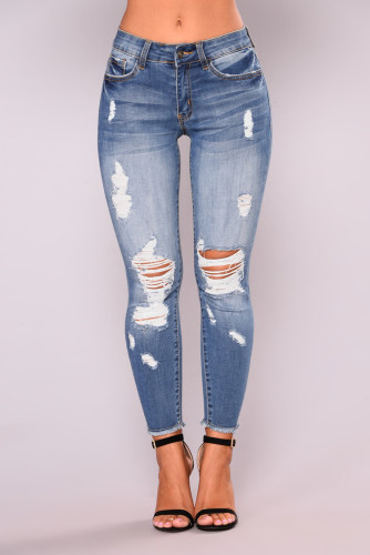 Blue Washed Skinny Ripped Jeans LC781982-4
