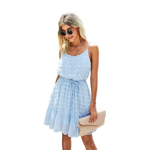 Light Blue Swiss Dot Spaghetti Straps Mini Dress TQK310543-30