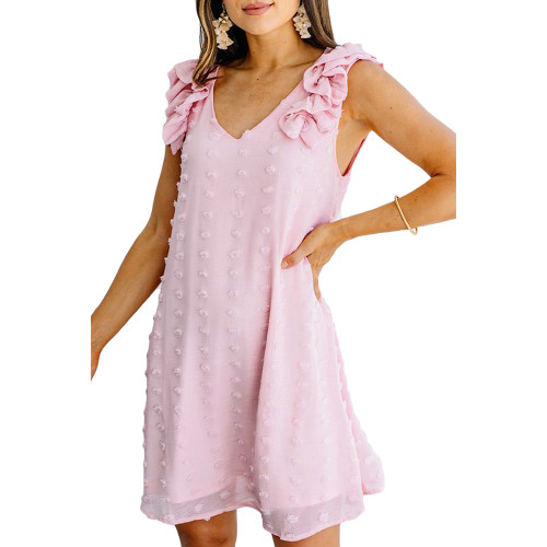 Pink Ruffled Sleeveless Swiss Dot V Neck Dress TQK310542-10