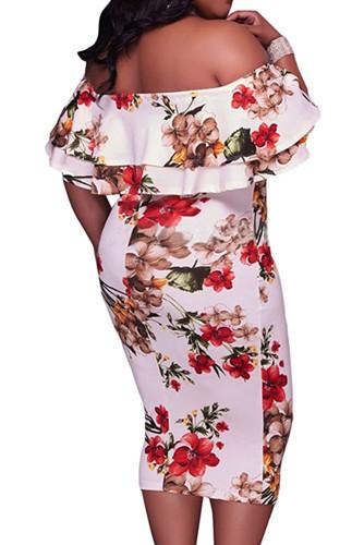 White Off Shoulder Floral Plus Size Midi Dress LC613998-1