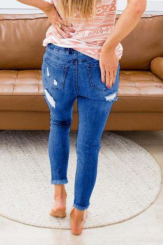 Blue Elastic Waist Hole Jeans LC781988-5