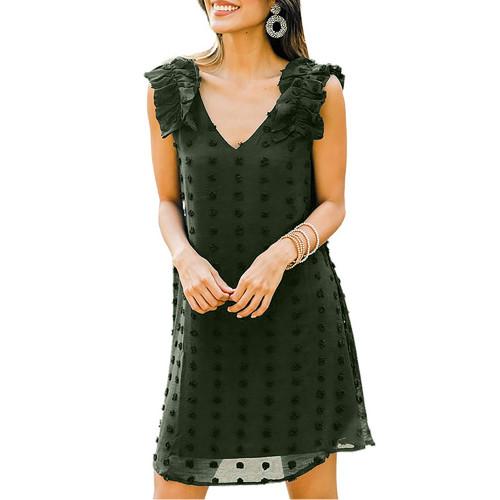 Army Green Ruffled Sleeveless Swiss Dot V Neck Dress TQK310542-27