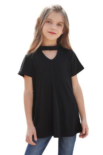 Black Keyhole Girl's Short Sleeves Top TZ25230-2