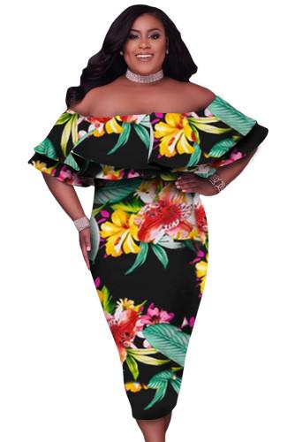 Black Off Shoulder Floral Plus Size Midi Dress LC613998-2