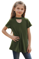Green Keyhole Girl's Short Sleeves Top TZ25230-9