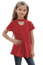 Red Keyhole Girl's Short Sleeves Top TZ25230-3