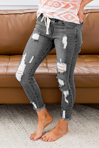 Gray Elastic Waist Hole Jeans LC781988-11