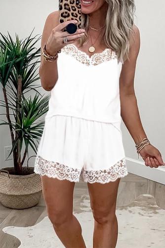 White Lace Trim Tank Top and Shorts Pajamas Set LC4511075-1