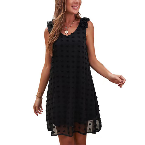 Black Ruffled Sleeveless Swiss Dot V Neck Dress TQK310542-2