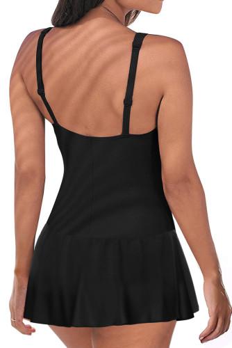 Black Lace up Ruched Bodyshaper Tummy Control Swimdress LC44270-2