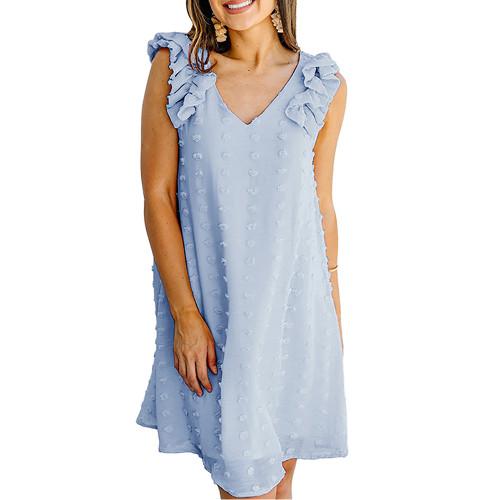 Light Blue Ruffled Sleeveless Swiss Dot V Neck Dress TQK310542-30