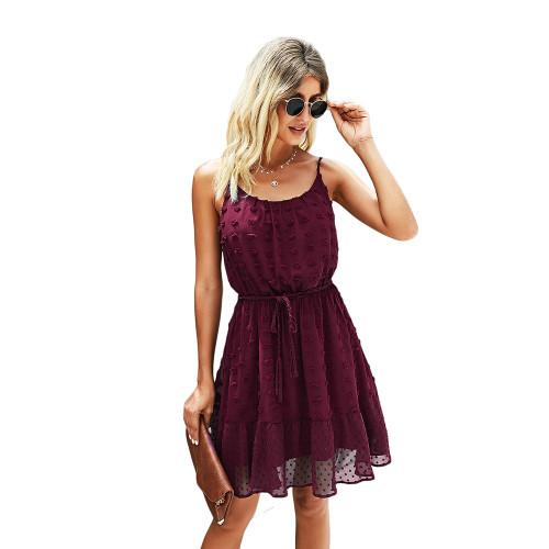 Wine Red Swiss Dot Spaghetti Straps Mini Dress TQK310543-23