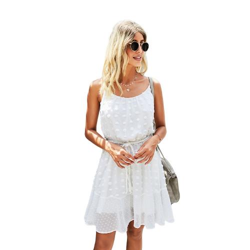 White Swiss Dot Spaghetti Straps Mini Dress TQK310543-1